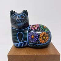 Vintage Cat Figurine Hand Painted Mexican Folk Art Clay Pottery Black
