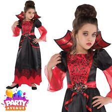Girls Halloween Vampire Queen Fancy Dress Costume Vampiress Outfit Age 8-10yrs