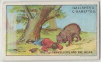 The Travellers And The Bear  Aesop's Fable Moral Story 1920s  Ad Trade Card