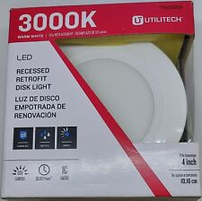 "32pc Utilitech Retrofit LED Puck 3000k Warm 4"" Dimmable 10w 600 Lumen 50watt eq"