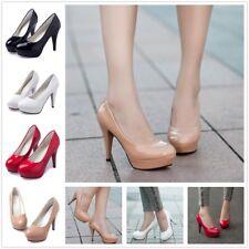 AU Women Patent Leather Round Toe Stiletto High Heel Platform Pump Working Shoes