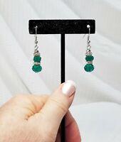 Vintage Faceted Green Crystal Teardrop Dangle Earrings