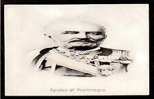 c1910 distortion portrait King Nicholas Montenegro Royalty in uniform postcard