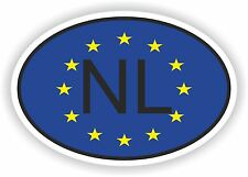 OVAL EUROPEAN UNION FLAG con NL OLANDA Codice paese ADESIVO MOTO AUTO