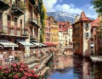 French Town of Annecy Oil painting Art Giclee Printed on Canvas 16x20 Inch P071