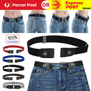 Women Invisible Elastic Buckle-Free Belt for Jeans No Bulge Hassle Waistband