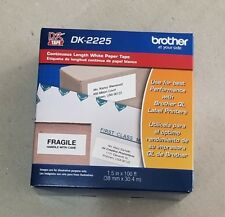 """Genuine Brother Continuous Paper Label Tape 1-1/2"""" x 100 ft Black/White DK2225"""