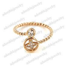 14K Solid Rose Gold Over 925 Sterling Silver White Cz Adjustable Flower Toe Ring