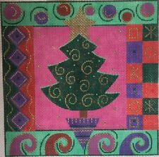 CHRISTMAS TREE WITH BORDER HANDPAINTED NEEDLEPOINT CANVAS JULIA'S ON SALE