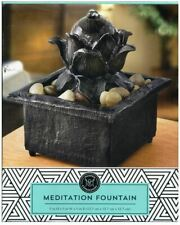 NEW Lotus Flower Meditation Tranquility Water Fountain Stone Basin River Rocks