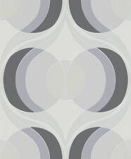 Tapete Retro Rasch 804713 Hot Spot Auge Kreise Creme Grau Schwarz / EUR 2,81/qm