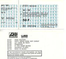 RARE / TICKET BILLET DE CONCERT - AC/DC AC / DC : LIVE A PARIS ( FRANCE ) 1980
