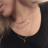 Women Multilayer Gold Plated Necklace Beads Turquoise Pendant Chain Jewelry