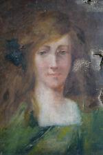Tableau ancien XIXe HST portrait jeune fille à restaurer à identifier grenier