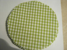 15 Stoffdeckchen / Hauben lindgrün/weiß kariert für  Marmeladengläser Deckchen