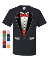 Funny Tuxedo Bow Tie T-Shirt Tux Wedding Party Tee Shirt