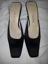 Prada Shoes 6 Mules Black 36.5 Slides Low Heels 36-1/2 Slip On Italy Women's