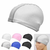 Unisex Durable Flexible Sporty Swimming Waterproof Swim Cap Bathing Hat Ear Cup