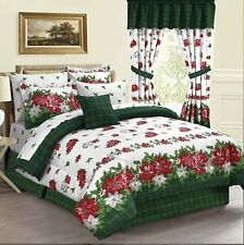 CHRISTMAS POINSETTIA FLOWER HOLLY BERRIES GREEN HOLIDAY PLAID TWIN COMFORTER SET