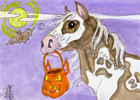 Ghost paint horse Halloween pumpkin ACEO EBSQ Loberg Mini equine Art moon pony