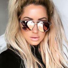 UK NEW Rose Gold Mirrored Reflective Aviator Cat Eye Ladies Sunglasses Retro