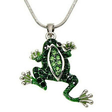 Silver Tone Green Frog Pendant Necklace 18