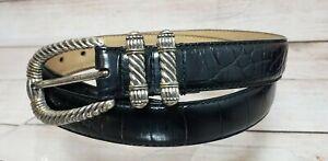 Fossil Belt Large Croc Print Black Leather Silver Tone Buckle Genuine Cowhide