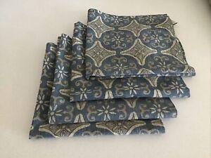 POTTERY BARN/ 4 NAPKINS modern blue design  SAMPLES