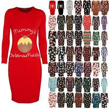 Womens Ladies Mummy's Christmas Pudding Long Sleeve Maternity Bodycon Midi Dress