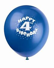 """HAPPY 4TH BIRTHDAY BALLOONS latex 12"""" 10 pack assorted colours"""