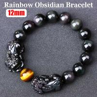12mm Obsidian Armband Edelstein Buddha Kugel Pixiu Stretch Drachen Armreif