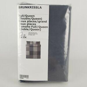 Ikea Brunkrissla Full/Queen Duvet Cover Pillowcases Black Gray 103.755.26 New