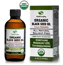 Black Seed Oil 4 oz - USDA Organic 100% Pure Cold Pressed Cumin Nigella Sativa