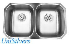 "32"" Stainless Steel 18G Undermount 50/50 Double Bowl Kitchen Sink"