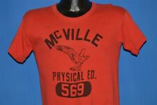 vintage 50s Mcville High School Physical Ed 569 Eagle Distressed t-shirt Small S