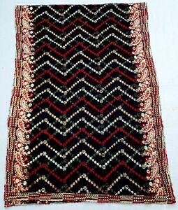 Indiansanskriti Georgette Black Dupatta Hand Embroidery Stole Scarf Wrap Veil