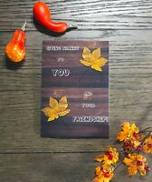 Happy Thanksgiving With Autumn Leaves And Friendship Handmade Greeting Card