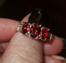 New: 925 Sterling Silver Cz 3 Stone Ruby Red Wedding Engagement Ring, Size 7