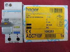 Réf ADC710F DISJONCTEUR DIFFERENTIEL HAGER 1P+N 10A 30mA 3kA TYPE AC