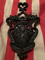 """Antique Cast Iron Victorian Trivet~Ornate Hearts~Fleur-de-Lis~Black~9"""""""