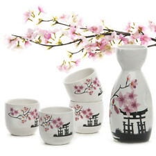 5PCS Japanese Sake Set Ceramic Cherry blossom Porcelain Sakura Flower Pink Cup