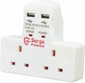 2 Way Gang Plug 13A Wall Socket Adaptor 2x USB Charge Ports 2.4A Surge Protected