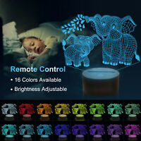 Elephant Gifts,Elephant Decor 3D Illusion Lamp 16 Colors 3D Nightlight for Kids