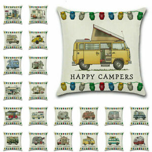 45X45CM Pillow Case Happy Campers Caravan Cushion Cover Cartoon Gifts Home Decor