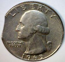 1965 CLIPPED ERROR Washington Quarter HIGH GRADE Coin  NICE Size Clip LOT #14 NR