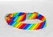 """1"""" Small (whippet) Martingale Dog Collar Colorful Diagonal Stripes"""