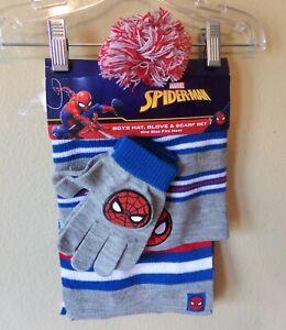 Spiderman Boys 3 Pc Winter Hat Set-Scarf-Gloves-Beanie Hat