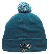 SAN JOSE SHARKS NHL TEAL CUFFED KNIT BEANIE POM Z WINTER CAP HAT NWT!