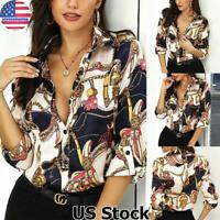 US Women's Button Down Casual Tops Blouse Ladies Long Sleeve Chain Print T Shirt