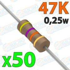 Resistencia 47K ohm 0,25w ±5% 300v - Lote 50 unidades - Arduino Electronica DIY